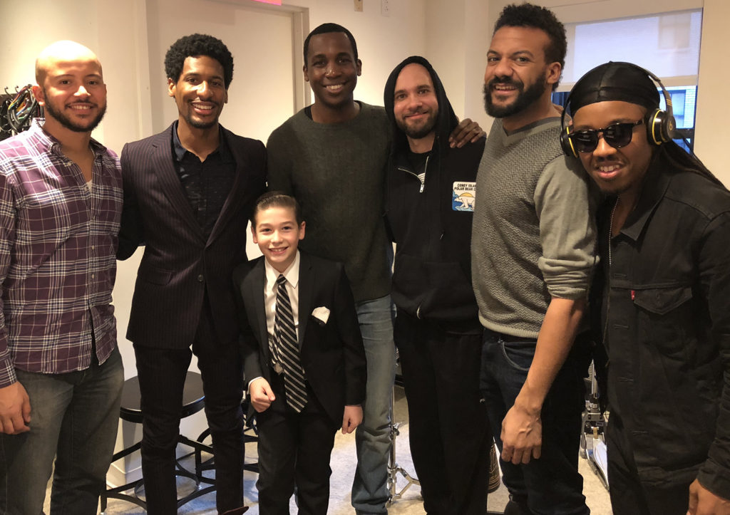 "Brandon with Jon Batiste and the ""Stay Human"" gang - L-R: Louis Fouche, Jon Batiste, Ibanda Ruhumbika, Joe Saylor, Jon Lampley, Louis Cato"